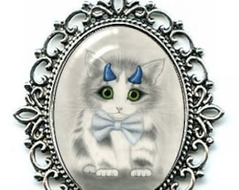 Cute Devil Kitten Necklace Blue Horns Devil Cat Cameo Pendant 40x30mm Gift for Cat Lovers Jewelry