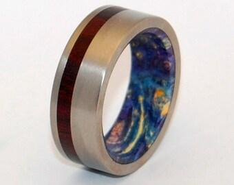 titanium ring, wedding ring, wood ring, cocobolo, something blue, Wooden Wedding Ring, box elder, mens ring, women's ring - PRIVATE UNIVERSE