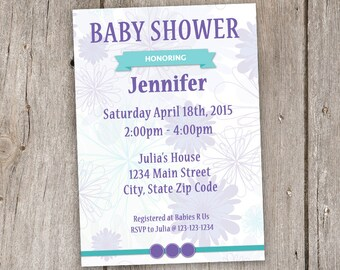 Purple and Teal Baby Shower Invitation, Digital, Printable, 5x7, 5by7