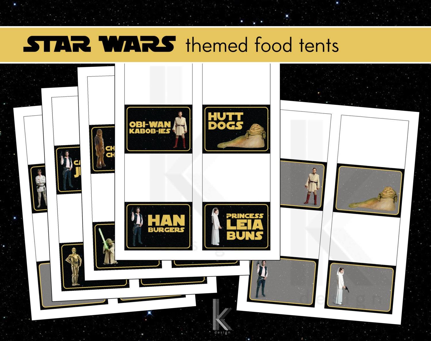 custom star wars themed party food label tent cards printable