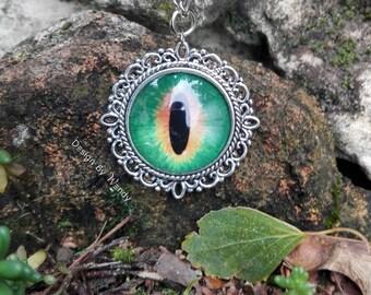 Green Dragon Eye Pendant Necklace, geeky jewelry, geek girl gift, geekery, Dragon Eye Cameo Necklace, Fantasy Jewelry Pendant, Dragon Charm