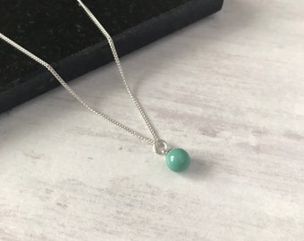 Silver Necklace with Swarovski Jade Pearl/Jade Necklace/Single Drop Pendant/Necklace/Sterling Silver/Colour/Green Necklace/Gift