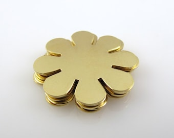 """Sale - Brass 8-Petal Flower Blank, 15/16"""", 24mm Stamping Blank Personalized Jewelry Floral  24 Gauge Qty 6"""