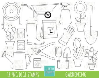 50% SALE Garden digi stamp, spring stamps, commercial use, gardening stamps, cute digi stamps, gardening tools graphics
