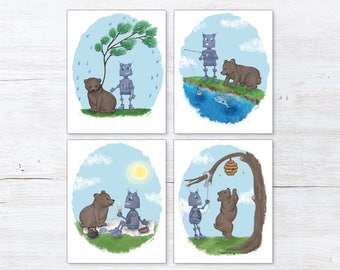 Robot Nursery Art - Bear Nursery Art - Robot Nursery Decor - Bear Nursery Decor - Robot Print - Bear Print - Robot Nursery - Bear Nursery