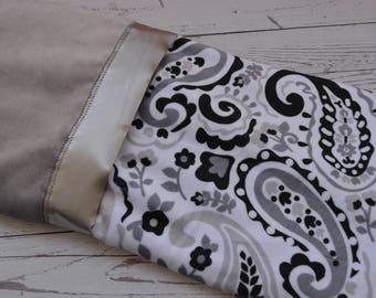 Minky Blanket With Satin Trim... Minky Baby Blanket... Minky Stroller Blanket... Minky Crib Blanket