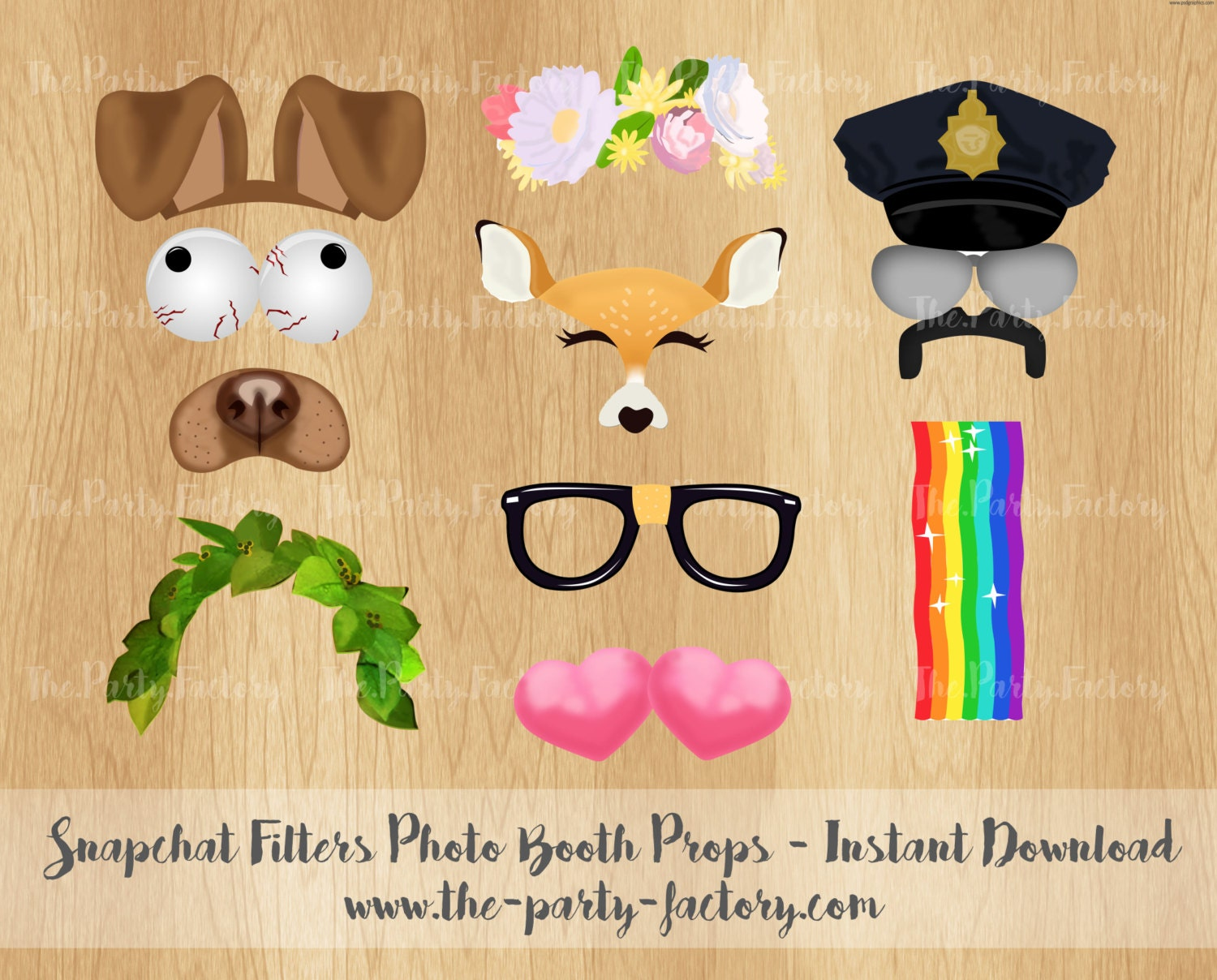 Snapchat Filters Photo Booth Props Instant Download Printables