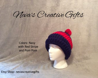 NAVY with RED STRIPE  -  Cozy Winter Hat