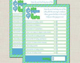 Price is Right Baby Shower Game for Twin Boys in Green and Blue