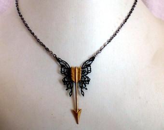 Steampunk Butterfly Arrow Necklace - Black Butterfly Jewelry - Wanderlust Arrow Jewelry -Archery Charm Necklace