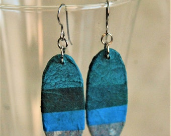 Blue Striped Hanji Paper Earrings OOAK Patchwork Oval Earrings Patchwork Handmade Hypoallergenic Lightweight Turquoise Aqua Ocean blue paper