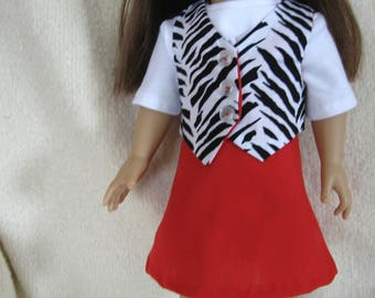 18 inch Doll Skirt and Vest fits American girl Doll