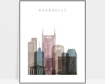 Nashville art print, Poster, Wall art, Nashville skyline, Tennessee, Travel Poster, City print, Home Decor, distressed art ArtPrintsVicky