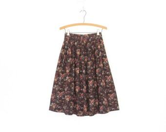 vintage dirndl skirt * floral skirt * full skirt * romantic rose skirt * highwaist cotton skirt * xs