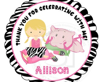 "Custom Sleepover Party Thank you Tags- 2.5"" Printable Tags-Stickers- Personalized Slumber Party Thank you Tags- Digital file"