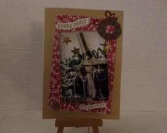 champagne bottle 3D greeting card
