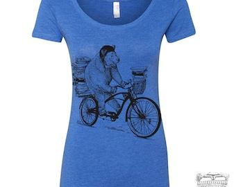 Womens BOOK BEAR Scoop Neck Tee - T Shirt s m l xl xxl (+ Colors)