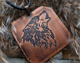 Howling Wolf pendant, wolf jewelry, personalizable men wolf jewelry, howling wolf jewelry, men wolf pendant, custom text charm wolf necklace