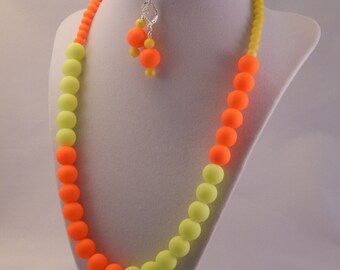 Neon Orange and Yellow Necklace and Earring Set