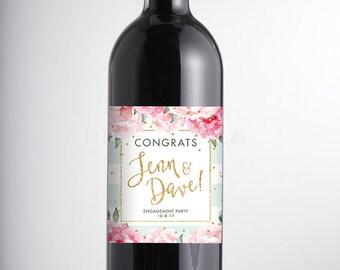 ENGAGEMENT WINE LABEL Modern Wine Bottle Sticker Pink Mint Egagement Party Wine Champagne Label Custom Personalized Wine Bachelorette - Jenn