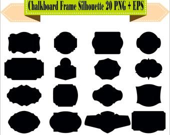 Chalkboard Frame Badges Vintage Label Motif Shapes Pack Silhouette Vector Clipart PNG EPS Digital Files Scrapbook