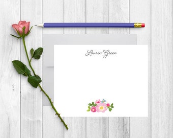 Personalized Stationary, Floral Stationery, Personalized Note Cards, Thank You Note Cards, Stationery Set, Bridesmaid Gift, Caligraphy, FL08