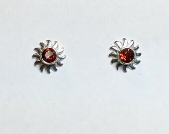 Firey-Red Garnet Stud Earrings