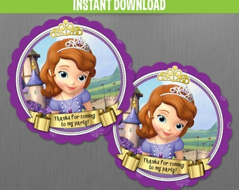 Disney Sofia The First Birthday Favor Tags - Instant Download and Edit with Adobe Reader