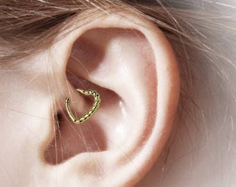 14k Solid Gold Daith Piercing Braided Heart..16g..(Right Or Left Ear)