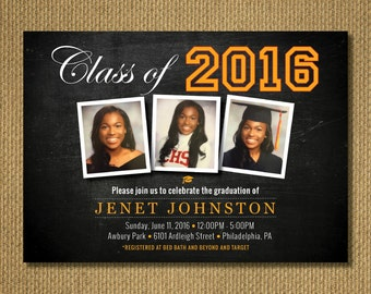 PRINTABLE | Graduation Party Invitation, Personalized Printable Invitation, You Print, 7x5