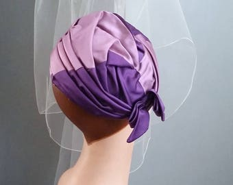 60s Ruched Purple Turban - Elegant Mid Century Topper - Elegant and Smart