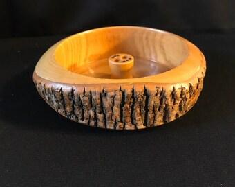 Vintage Ellwood Rusticware Wood Bark Nut Bowl