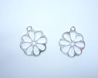 2 pcs Sterling silver, flower charm.  (16x14mm)