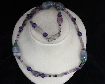 Handmade Amethyst & Quartz Necklace With 925 Clasp
