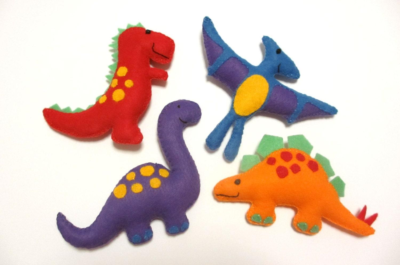 Felt Plushie Dinosaur Collection Handsewing Pattern PDF.