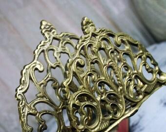 Vintage 1960s Brass Filigree Napkin or Letter Holder