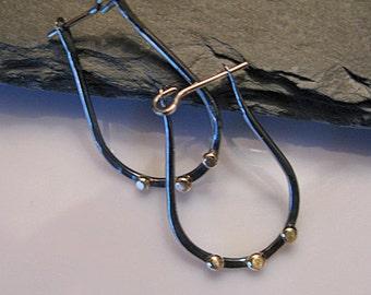 14K Gold Silver Earrings Large Hoop Earring Black Rhodium Hammered Hoop Earrings Black Silver Earrings Horse Shoe Hoops Black Hoop Earring