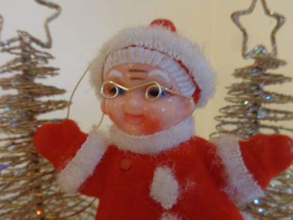 Vintage 1960s Flocked Mrs Santa Claus Christmas Ornament Hong Kong