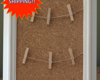 8x10 Framed Cork Board with Clothespins