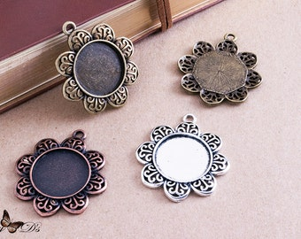 """8 20mm (.78"""") Flower Pendant Tray Blanks - Cabochon Settings and Findings - Flower Bezel Blanks - 3 Colors - Mix-N-Match"""