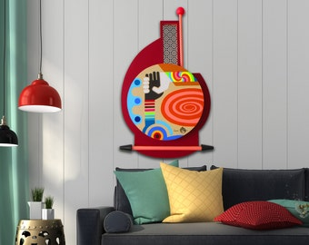 Unique Painting, Original Abstract Pop Art on Wood, Original Acrylic Painting, 3D Wall Art, Wooden Sculpture