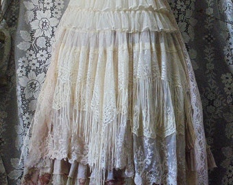 Lace fringe dress wedding boho ivory cream  tiered  tulle floral  vintage  boho  bride outdoor  romantic small   by vintage opulence on Etsy