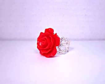 rings resin plated elastic single vintage gold western fashion rose red style newest women item large