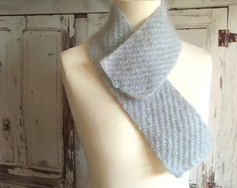 KNITTING PATTERN Button Scarf Diagonal Stripe Mohair Silk Ideal for Beginners Accessory