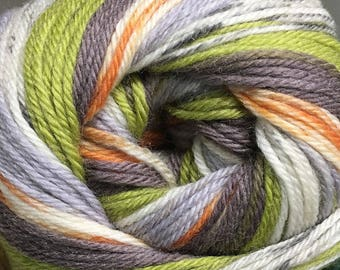 Dissonance Cascade Heritage Prints Yarn Green Grey Orange  437 yards Super Fine Wool Nylon Sock Yarn Color 54