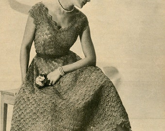CROCHET PATTERN Vintage 1950s Organdy Ribbon Scoop Neck Dress Shell Stitch Instant Download PDF