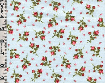 Fabric Marcus American Bouquet Pink Roses Rosebuds tossed on light blue sweet floral
