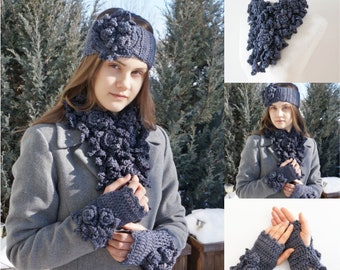 Rose Onie Scarf, Ear Warmer and Hand Warmers in dark gray, READY to SHIP, choose which pieces you want, hand painted merino wool