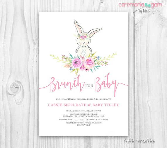 Bunny Baby Shower Girl Invitation Floral Cute Bunny Baby
