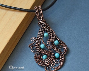 Wire wrapped copper pendant, wire jewelry, turquoise pendant, birthday gift for women, boho necklace, copper jewelry, tribal jewellery, blue